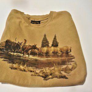 T Shirt Mens Marshland Moose Scenery, Pre-Owned XL